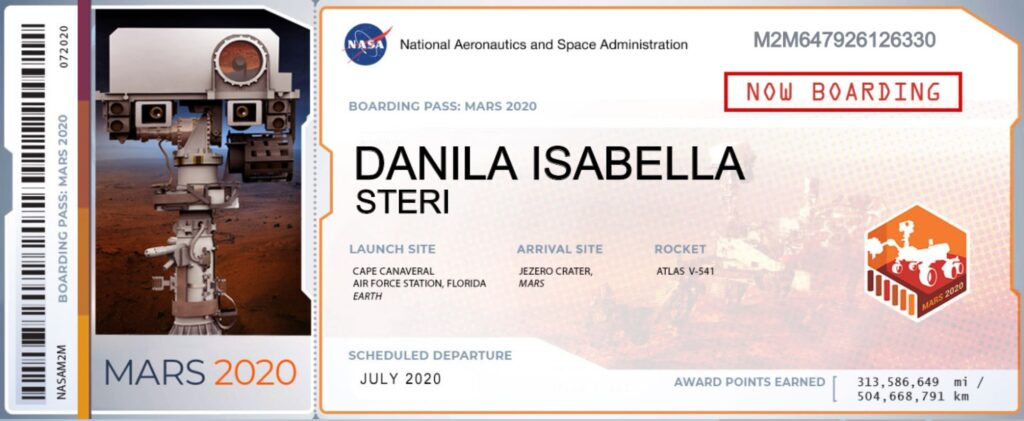 Mars Perseverance boarding pass